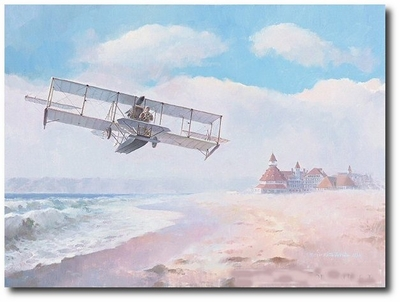 Navair Rising by Keith Ferris (Curtiss A-1 Triad)