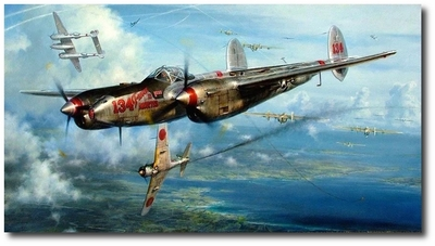 No Saki Tonight by John Shaw (P-38 Lightning)
