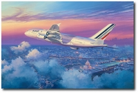 Paris Twilight Climbout by Rick Herter (Airbus A-380)
