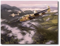 Precision Bombing in the Upper Faria River Valley by Jack Fellows (B-25 Mitchell)