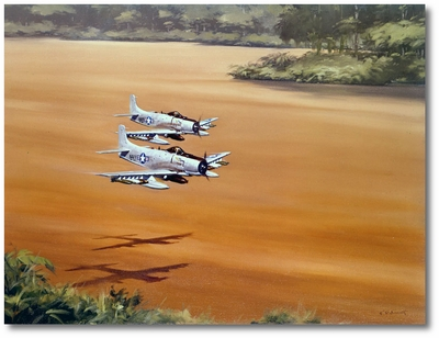 Spads Patrolling a River in Vietnam by R.G. Smith (AD-5 Skyraider)