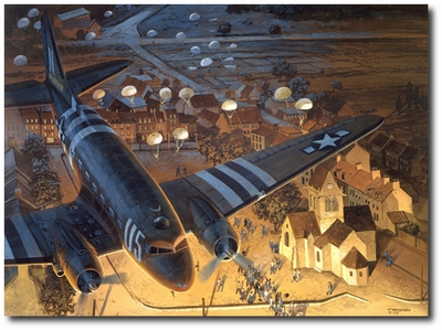 Ste-Mere-Eglise by Tom Freeman (C-47 Dakota)