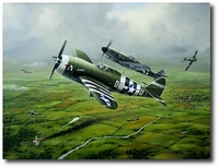 Steadfast Against All Odds by Domenic DeNardo (P-47 & Me-109)