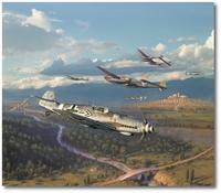 Steinhoff's Charge by Jim Laurier (Me109, P-38)