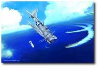 Strike on the Shirakumo by Marc Stewart (SBD Dauntless)