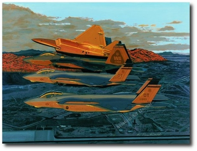 Sunrise Break by K. Price Randel (F-35 JSF, F-22 Raptor)