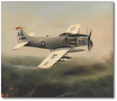 Supressing Fire by Robert D. Fiacco (A-1H Skyraider)
