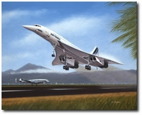 Tahiti Takeoff by Mike Machat (Concorde, Lockheed 1049G Constellation)