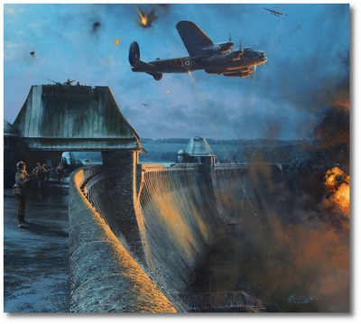 The Dambusters - Last Moments of the Möhne Dam by Robert Taylor (Lancaster)