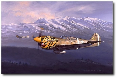Tigers in the Valley by Jack Fellows (P-40 Warhawk)