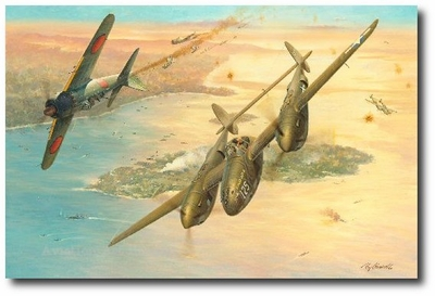 Two Zeros for Barbara Ann by Roy Grinnell (P-38 & Zero)