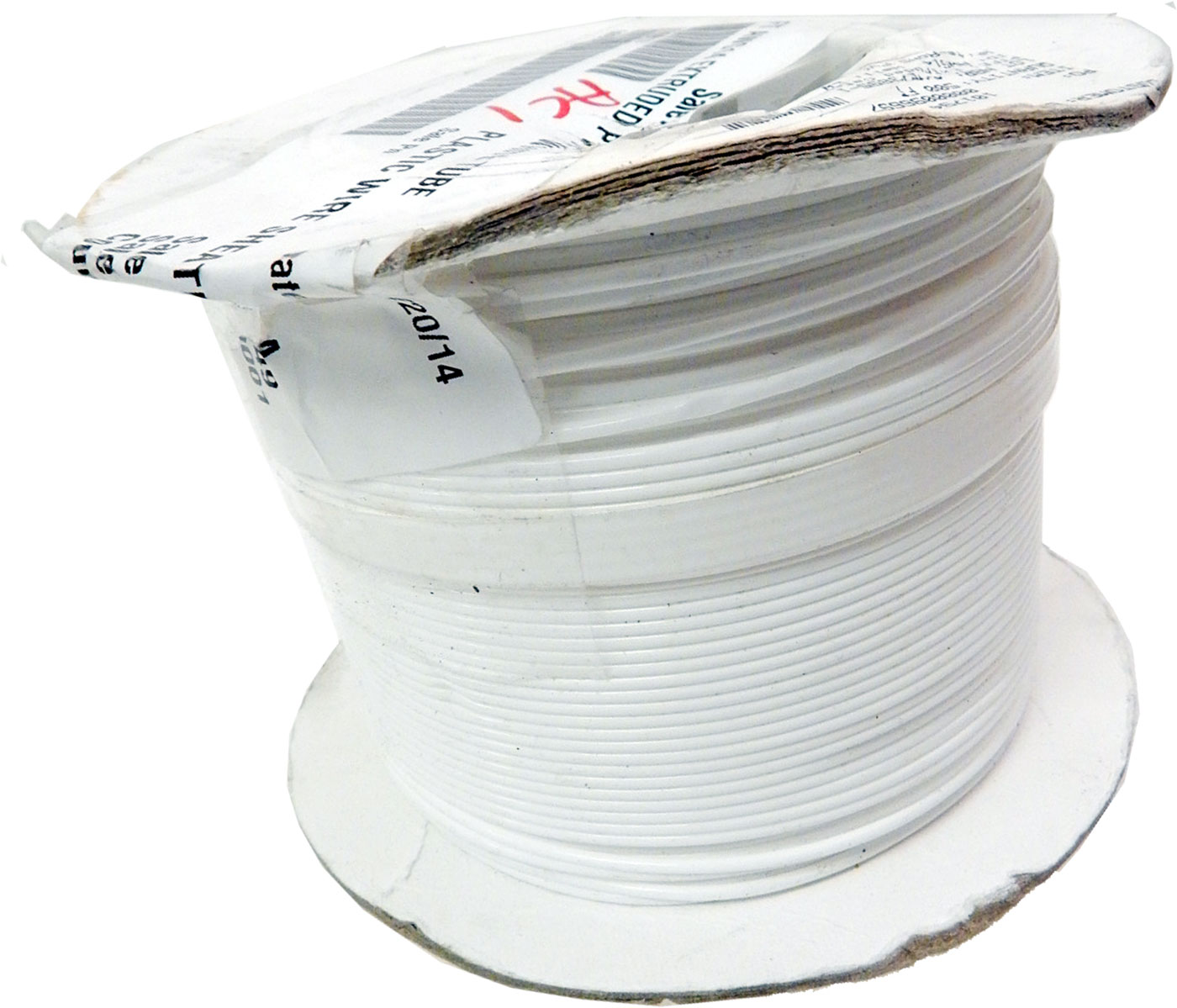 ZEUS 500Ft AWG14 PTFE White Tube PLASTIC-WIRE-SHEATH