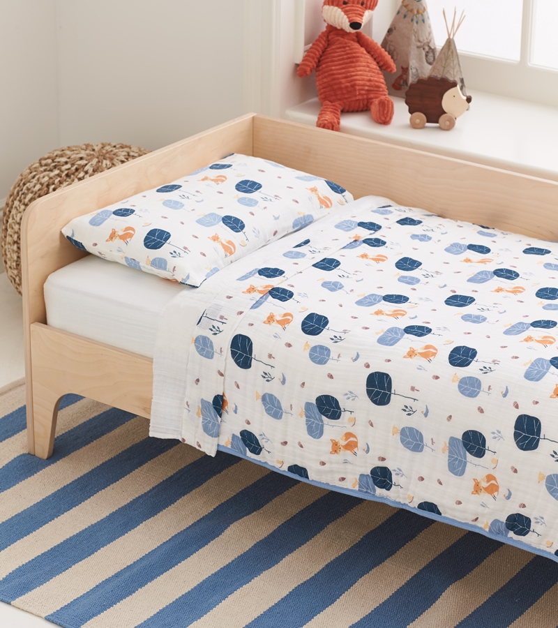aden anais organic toddler bedding set into the woods foxy - Toddler Bed Sets