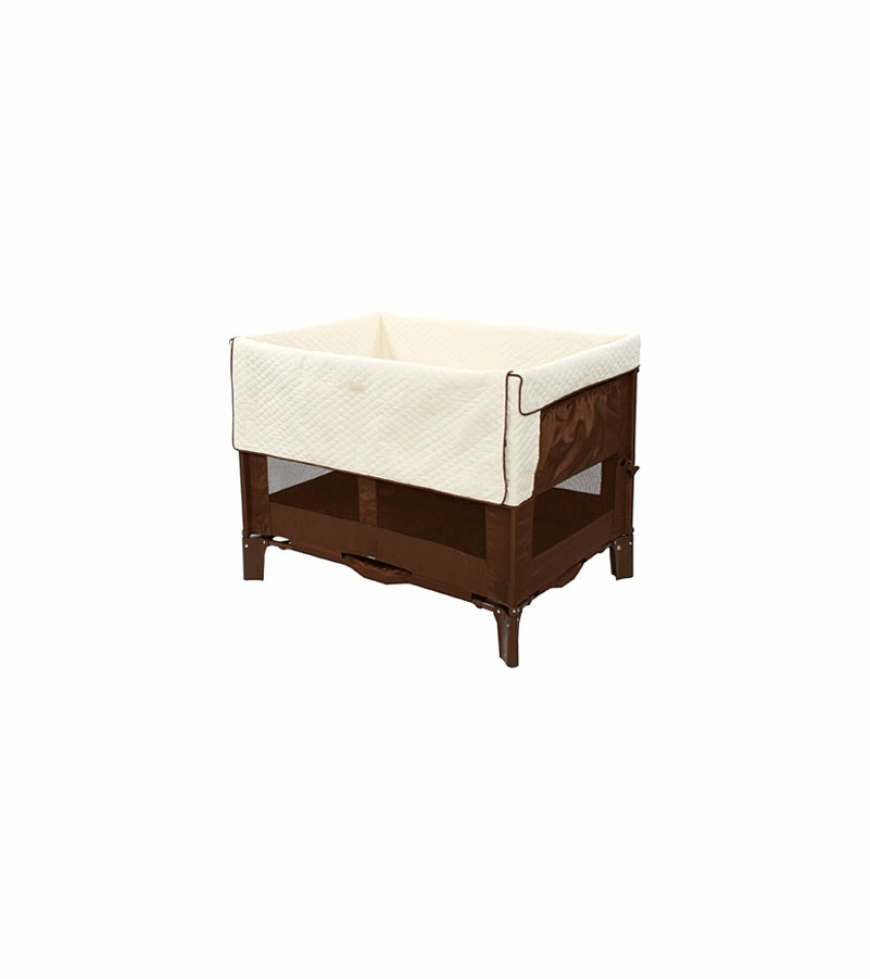 Arm 39 s reach original co sleeper bassinet in cocoa with for Arm s reach co sleeper
