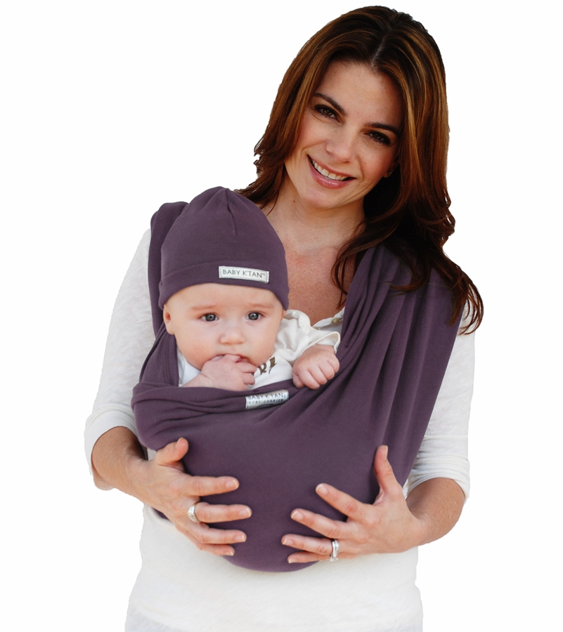 Baby K Tan Baby Carrier In Eggplant Small