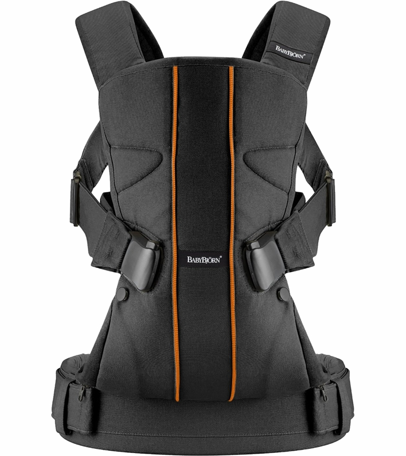 babybjorn baby carrier one black orange lines. Black Bedroom Furniture Sets. Home Design Ideas