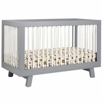Babyletto Hudson 3-in-1 Convertible Crib with Toddler Bed Conversion Kit in Grey/White