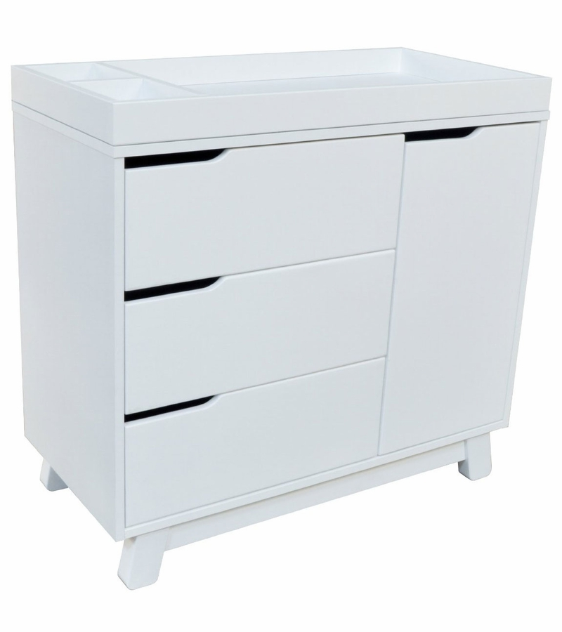 Babyletto Hudson 3 Drawer Changer Dresser, KD W/Removable Changing Tray In  White