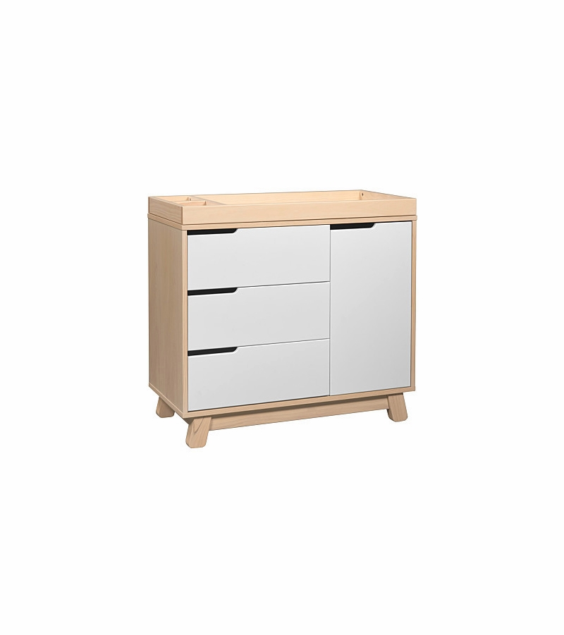 Babyletto Hudson 3 Drawer Changer Dresser, KD W/Removable Changing Tray In  Washed Natural/White
