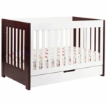 Babyletto Mercer 3-in-1 Convertible Crib with Toddler Bed Conversion Kit in Espresso/White