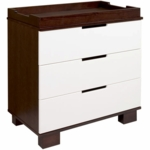 Babyletto Modo 3-Drawer Changer Dresser, KD w/Removable Changing Tray in Espresso and White