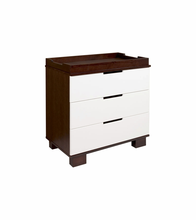 Babyletto Modo 3 Drawer Changer Dresser, KD W/Removable Changing Tray In  Espresso And White