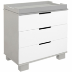Babyletto Modo 3-Drawer Changer Dresser, KD w/Removable Changing Tray in Grey and White