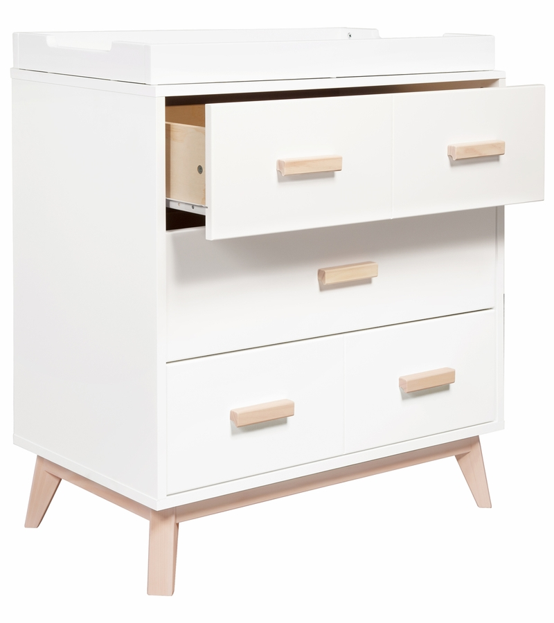 babyletto scoot 3 drawer changer dresser in white washed natural finish. Black Bedroom Furniture Sets. Home Design Ideas