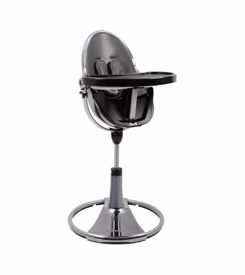 Merveilleux Bloom Fresco Chrome High Chair   Mercury Frame/Snakeskin Grey Seat Pad  (Leatherette)
