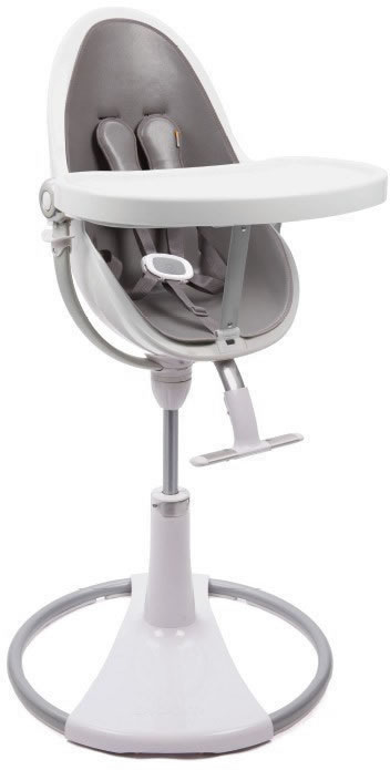 Bloom Fresco Chrome High Chair - White Frame/Snakeskin Grey Seat Pad (Leatherette)