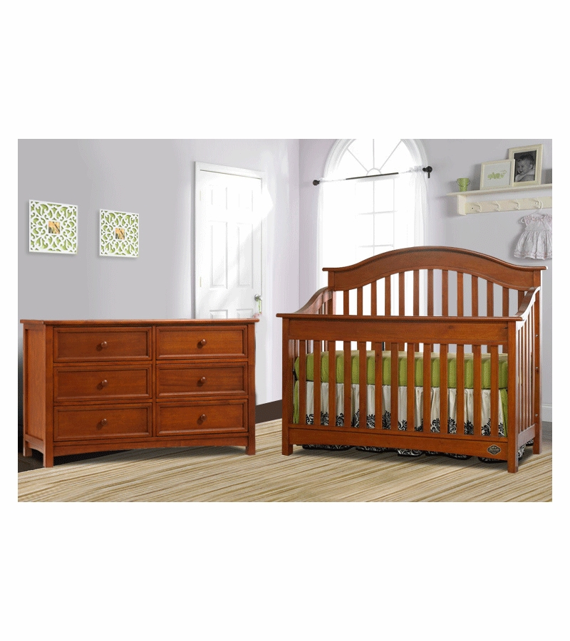 Bonavita Easton Lifestyle 2 Piece Nursery Set In Chestnut Crib Double Dresser