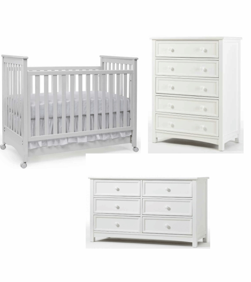 Bonavita Peyton Clic 3 Piece Nursery Set In White Crib Double Dresser 5 Drawer