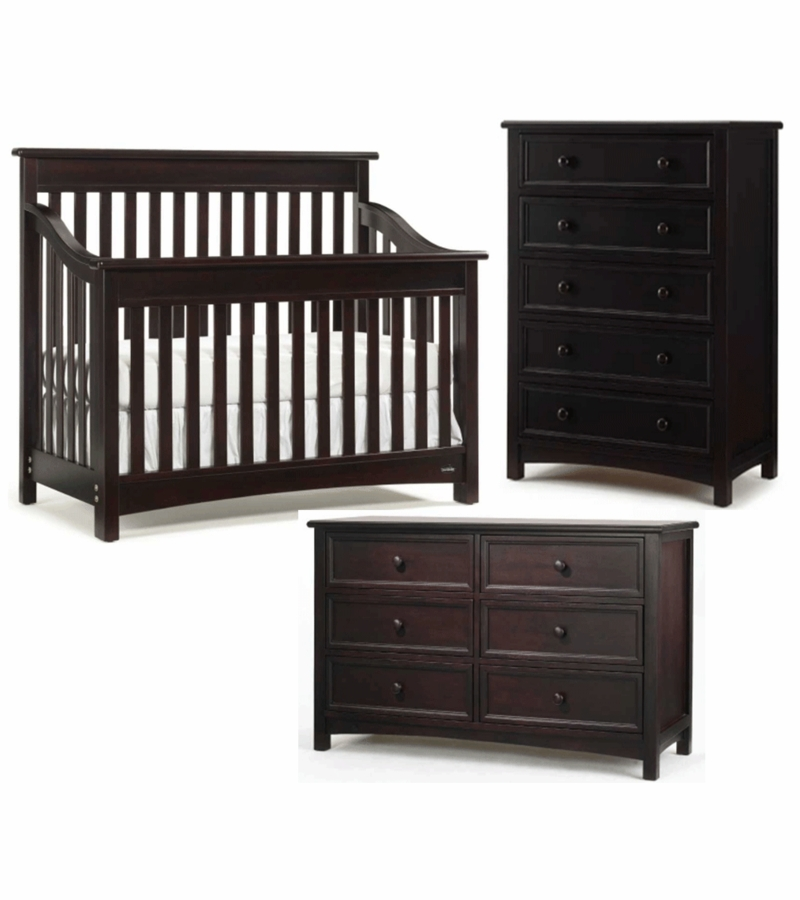 Bonavita Peyton Lifestyle 3 Piece Nursery Set In Espresso Crib Double Dresser 5 Drawer