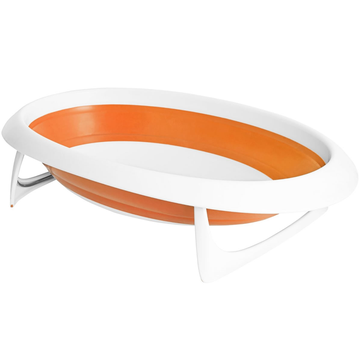 Boon NAKED 2-Position Collapsible Baby Bathtub - Orange & White