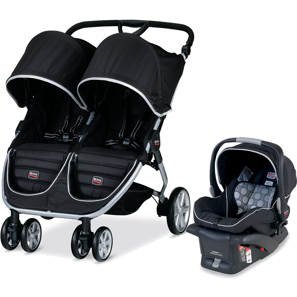 Britax B-Agile Double Stroller Travel System - Black