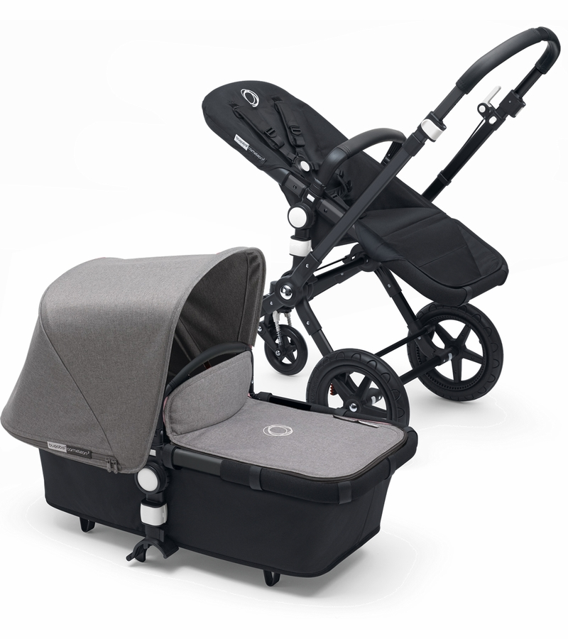 bugaboo cameleon 3 stroller all black grey melange. Black Bedroom Furniture Sets. Home Design Ideas