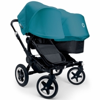 Bugaboo Donkey Duo Stroller - All Black/Petrol Blue