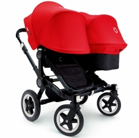 Bugaboo Donkey Duo Stroller - All Black/Red