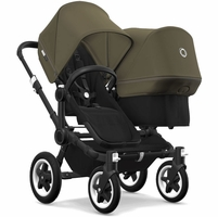 Bugaboo Donkey 2 Duo Complete Stroller - Black/Black/Olive Green/Olive Green