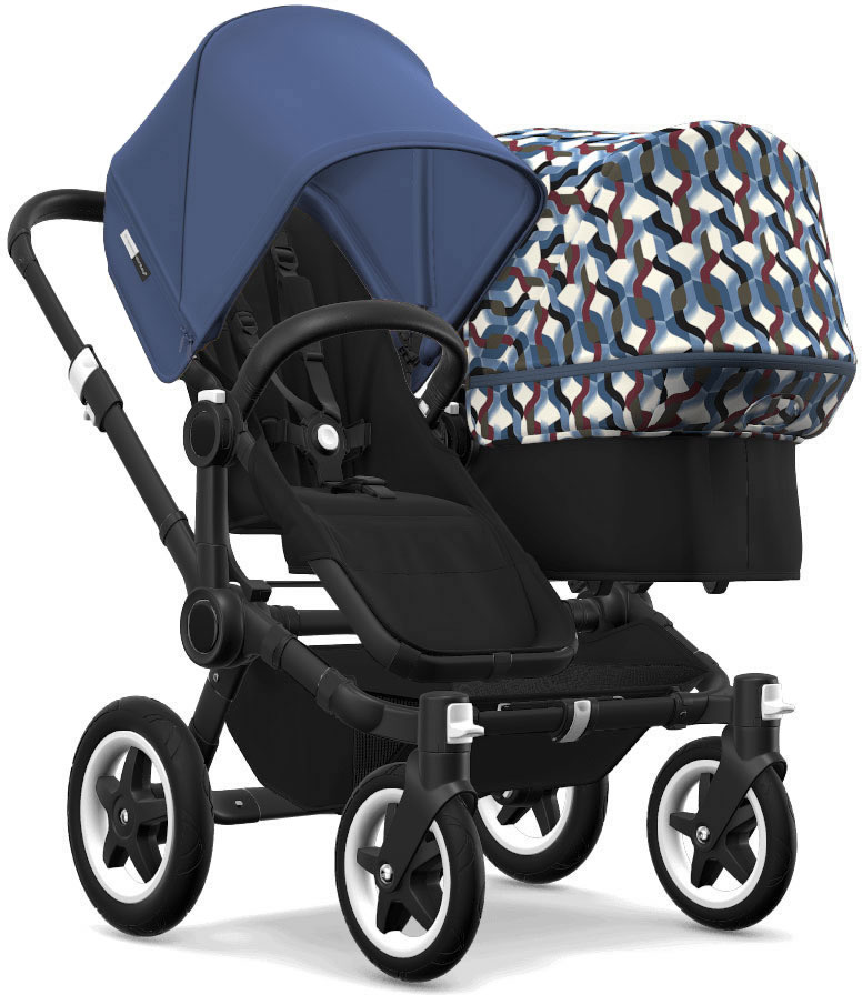 Bugaboo Donkey 2 Duo Complete Stroller - Black/Black/Sky Blue/Waves