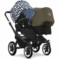 Bugaboo Donkey 2 Duo Complete Stroller - Black/Black/Waves/Olive Green
