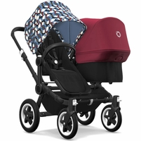Bugaboo Donkey 2 Duo Complete Stroller - Black/Black/Waves/Ruby Red