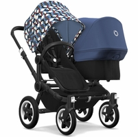 Bugaboo Donkey 2 Duo Complete Stroller - Black/Black/Waves/Sky Blue