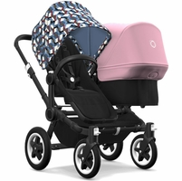 Bugaboo Donkey 2 Duo Complete Stroller - Black/Black/Waves/Soft Pink