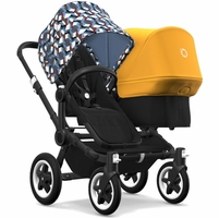 Bugaboo Donkey 2 Duo Complete Stroller - Black/Black/Waves/Sunrise Yellow