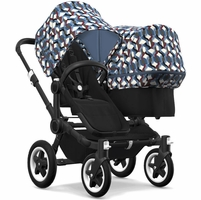 Bugaboo Donkey 2 Duo Complete Stroller - Black/Black/Waves/Waves