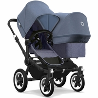 Bugaboo Donkey 2 Duo Complete Stroller - Black/Blue Melange/Blue Melange/Blue Melange