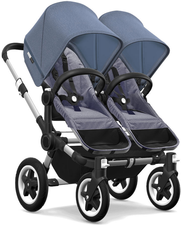 Bugaboo Donkey 2 Twin Complete Stroller - Aluminum/Blue Melange/Blue Melange/Blue Melange