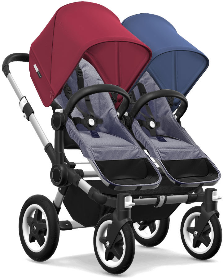 Bugaboo Donkey 2 Twin Complete Stroller - Aluminum/Blue Melange/Ruby Red/Sky Blue