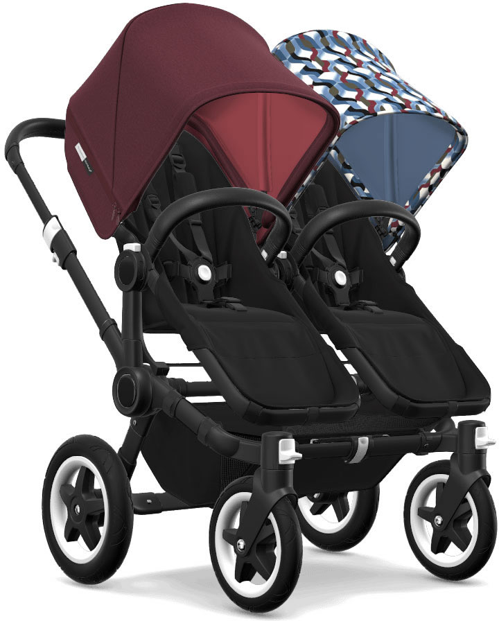Bugaboo Donkey 2 Twin Complete Stroller - Black/Black/Red Melange/Waves